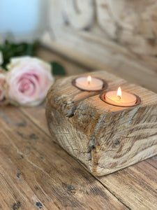 Double Rustic Wood Tea Light candle holder