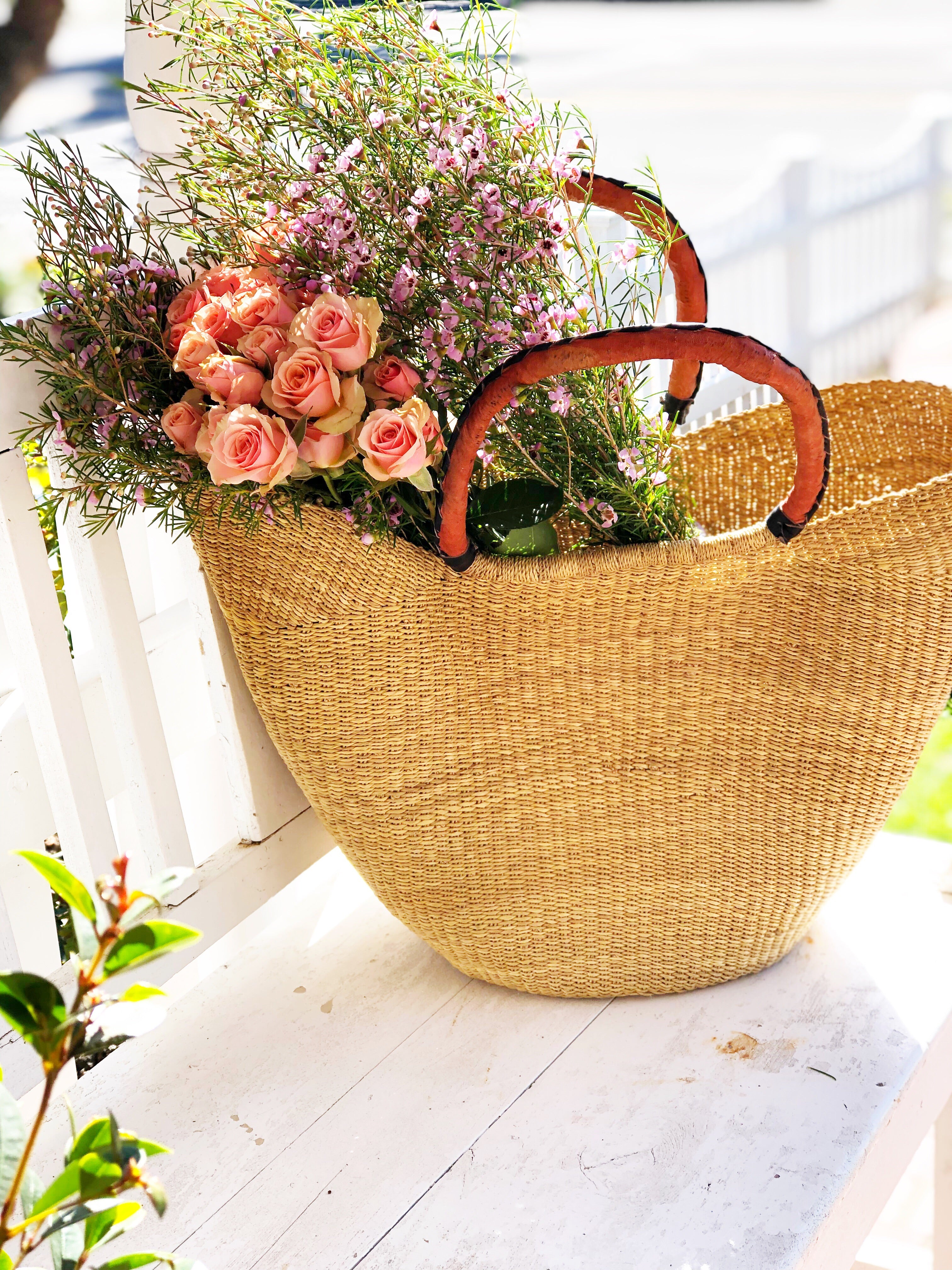 Straw Market Tote Brown Leather  Handle