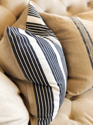 Charcoal Grey Triple Stripe Linen Pillow Cover