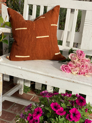 Rust Dash Mud Cloth Pillow Cover