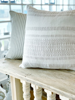 Textured White & Natural Stripe Pillow Cover
