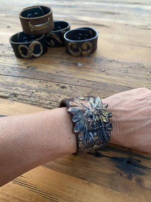 Handmade Hammered Indian Vintage Brass Leather Cuff