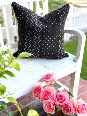 Black Polkadot Mud Cloth Pillow Cover