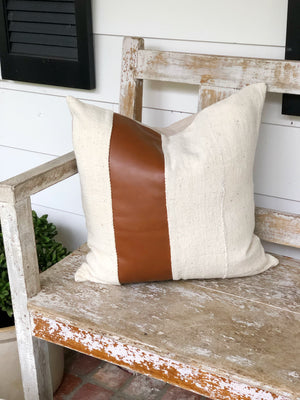 Faux Warm Brown Leather Stripe & Linen Pillow Cover