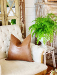Faux Leather & Linen Pillow Cover