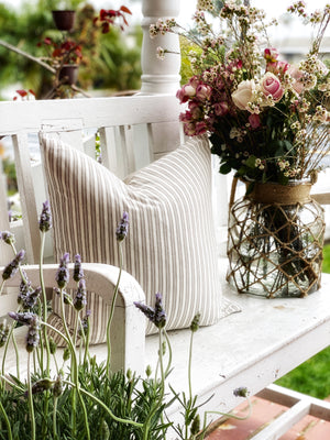 Natural Double Stripe Linen Pillow Cover