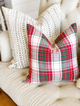 Holiday Plaid Linen Pillow Cover