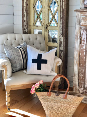 Black Cross Linen Pillow