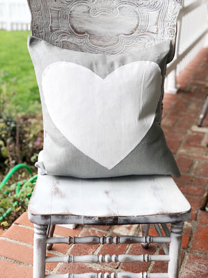 Grey Heart Linen Pillow Cover