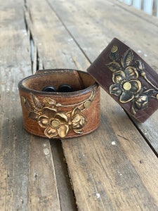 Hammered Vintage Brass Flower Leather Cuff