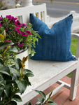 Solid Blue Vintage Indigo Pillow Cover