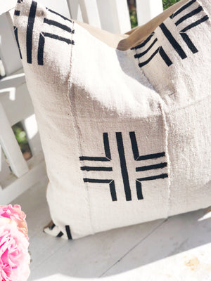 Large Line Cross Black & White  Mud Cloth Pillow Cover
