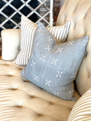 Perfect Gray with White X authentic Mud Cloth Pillow Cover