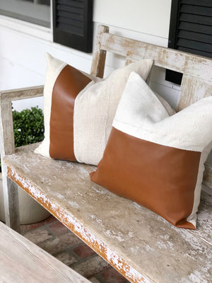 Half & Half Warm Brown Leather Stripe & Linen Pillow Cover