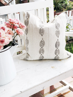 Creamy White and Grey Diamond Twist Mud Cloth Pillow Cover