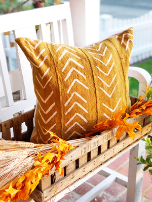 Mustard V Authentic Mud Cloth Pillow Cover