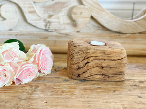 Single Rustic Wood Tea Light candle holder