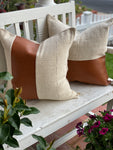Rust Faux Leather & White Stripe Mud Cloth Pillow Cover