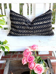 Small White Arrow Black Authentic Mud Cloth Pillow Cover