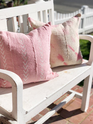 Pink & White Arrow Authentic Mud Cloth Pillow Cover