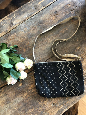 Black & White ZigZag Dot Authentic Mud Cloth Cross Body Bag