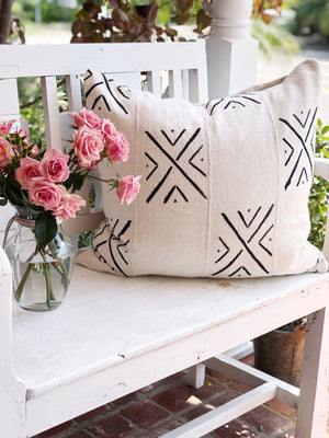 Black & White X Pattern Authentic Vintage Mud Cloth Cover