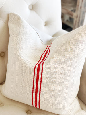 Vintage Red & White European Grain Sack Pillow Cover