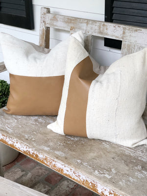 Half & Half Carmel Leather Stripe & Linen Pillow Cover