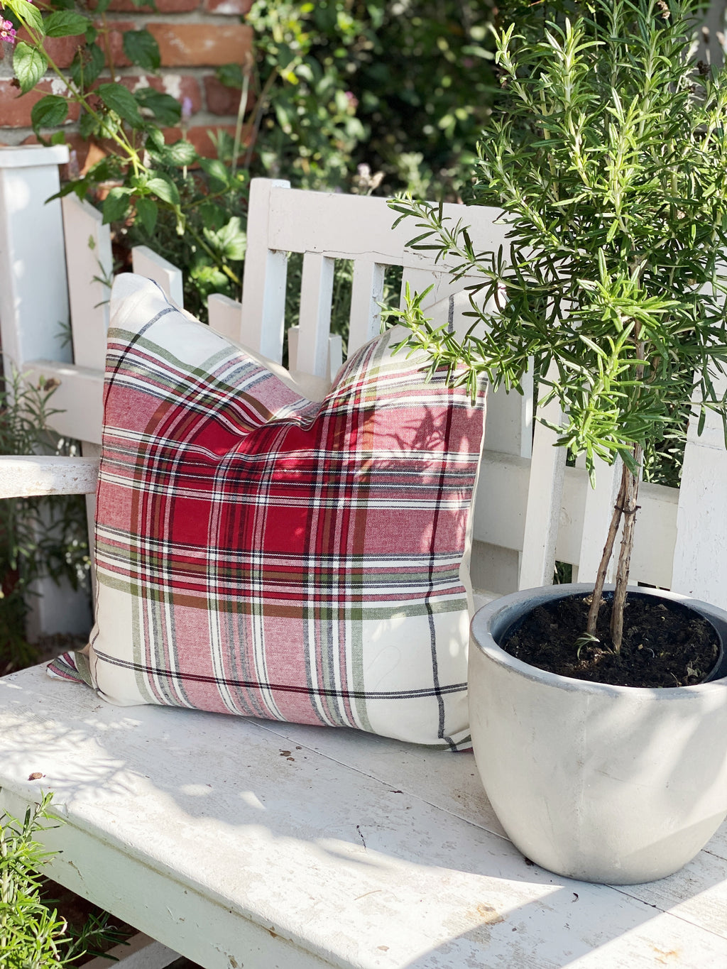Oversized Plaid Linen Pillow Cover