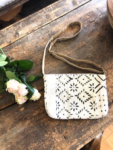 Black Flower Authentic Mud Cloth Cross Body Bag