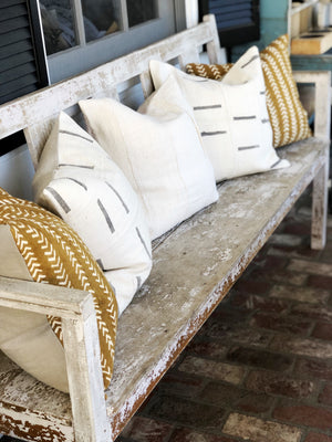White and Grey Dash Mud Cloth Pillow Cover