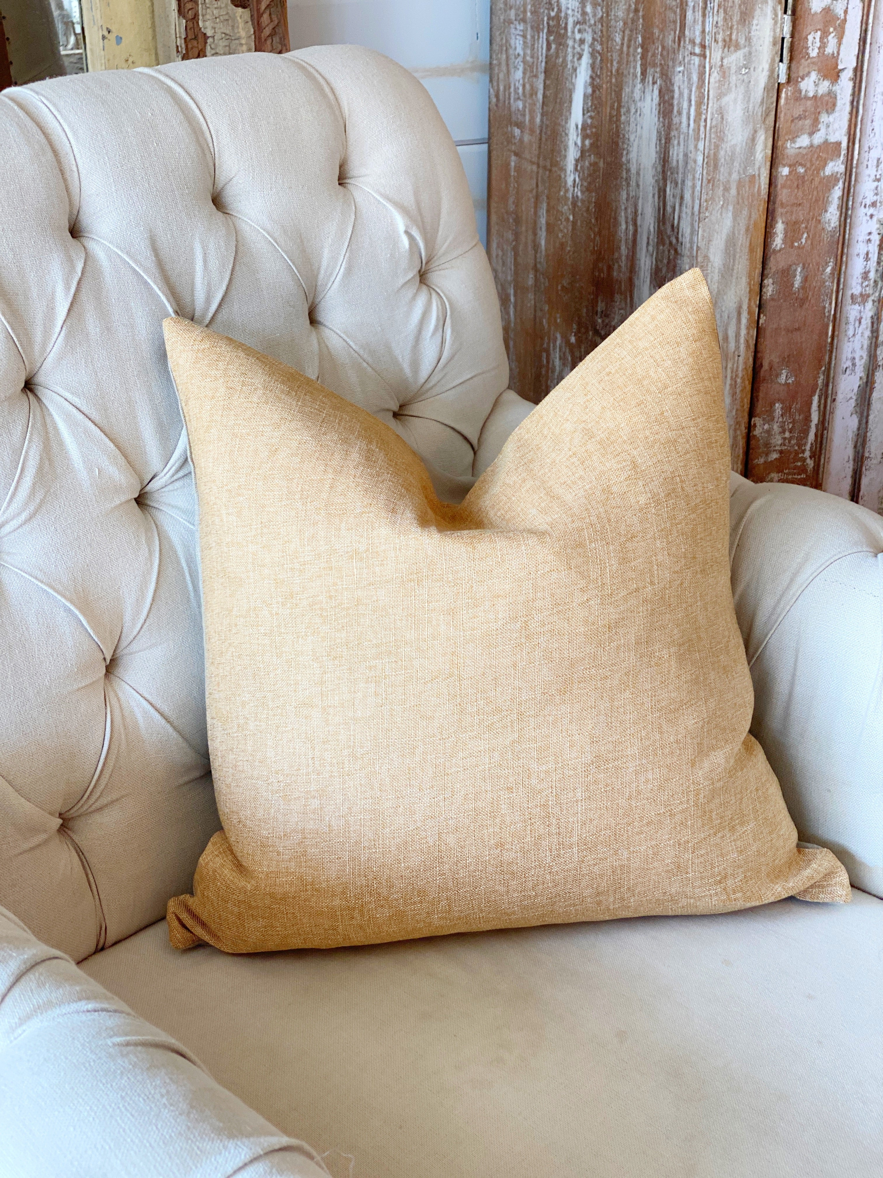 Vintage Wash Mustard Linen Pillow Cover