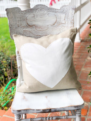 Tan Heart Linen Pillow Cover