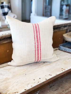 Red Stripe Vintage Grain Sac Pillow Cover
