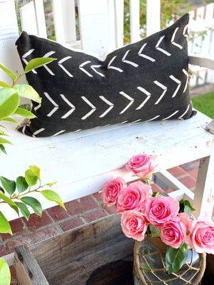 Black Big White Arrow Mud Cloth Pillow Cover