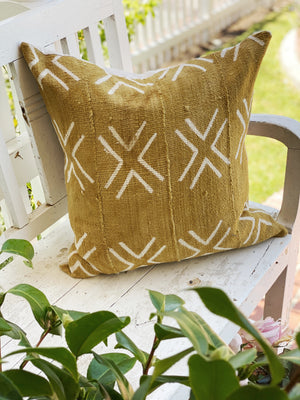 Big X Mustard Authentic Mud Cloth Pillow Cover