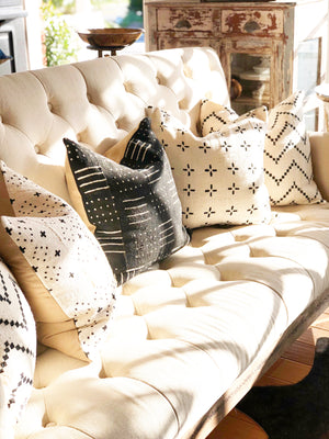 Dotty Black & White ZigZag Mud Cloth Pillow Cover