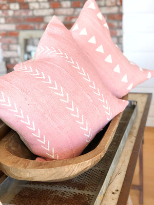 Pink & White Triangle Authentic Mud Cloth Pillow Cover