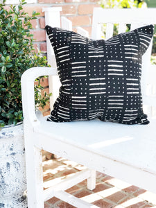 Black and White Dot & Stripe Mud Cloth Pillow Cover
