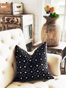 Black & Ivory Cross Mud Cloth Pillow Cover