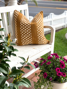 Mustard Diamond & White Authentic Mud Cloth Pillow Cover