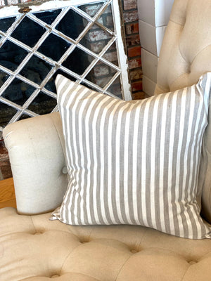 Natural & White Stripe Linen Pillow Cover