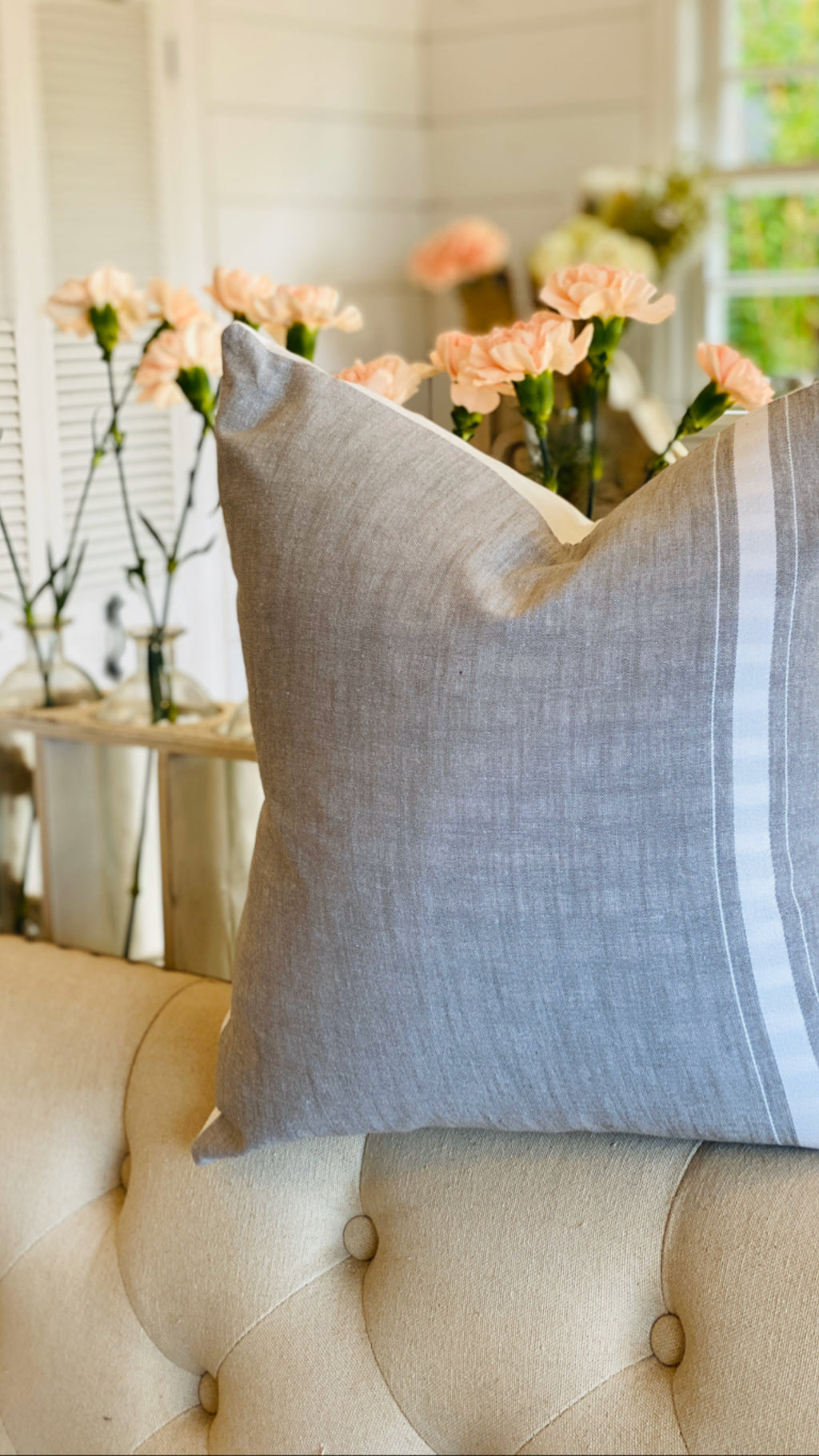 Vintage Gray Stonewash & White Stripe Linen Pillow Cover