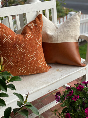 Rust Faux Leather & White Half Mud Cloth Pillow Cover