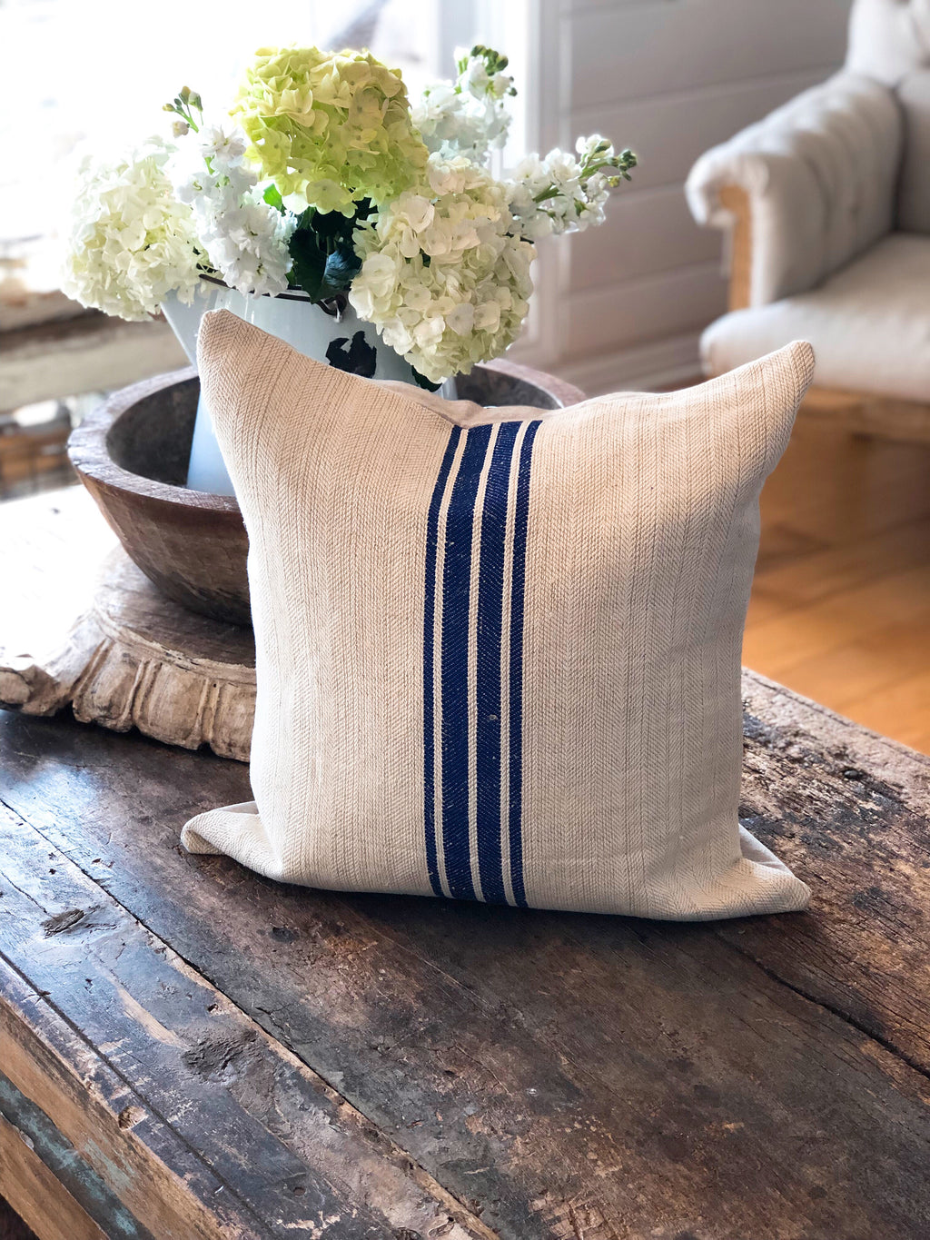 Royal Bold Blue Stripe Vintage Grain Sack Pillow Cover