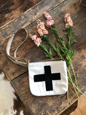 Swiss Cross & Suede Mud Cloth Cross Body Bag