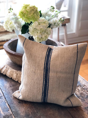 Navy 3-Line Linen Vintage Grain Sack Pillow Cover