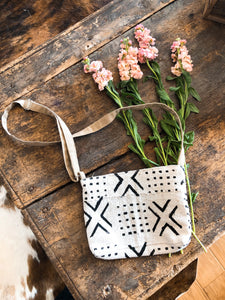 Black X & White Cross Body Bag