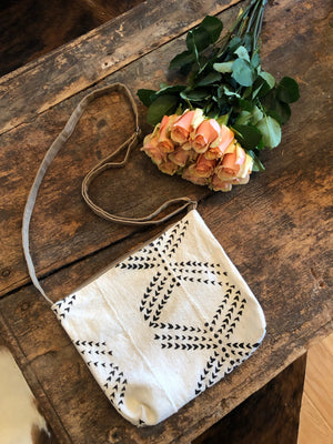 Heart Black & White Cross Body Bag