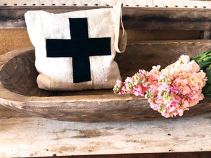Suede Swiss Cross Mudcloth Clutch Bag